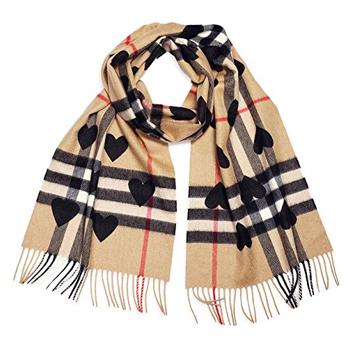 NEW!Burberry The Classic Cashmere Scarf in Check and Hearts Black