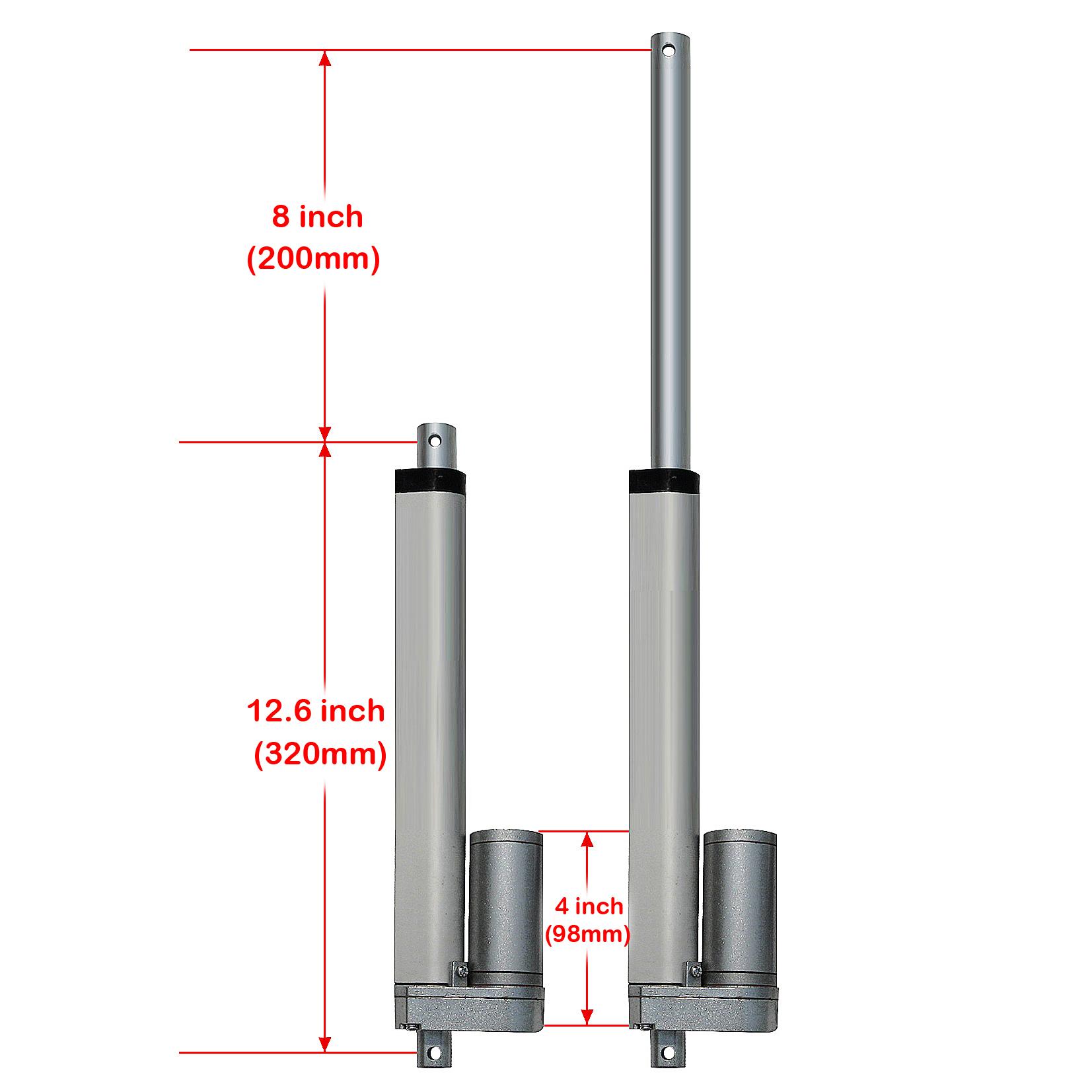 4PCS Linearantrieb 12V DC Elektrischer Linearmotor 150KG Pound Max Lift
