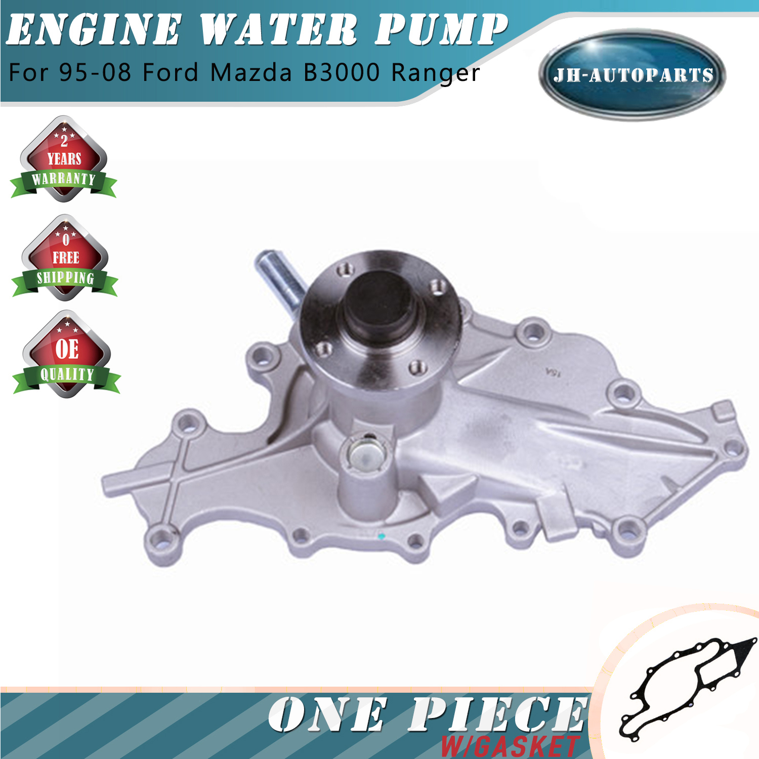 Water Pump With Gasket Fits 86-94 Ford Aerostar Ranger 1994 Mazda B3000 3.0L OHV