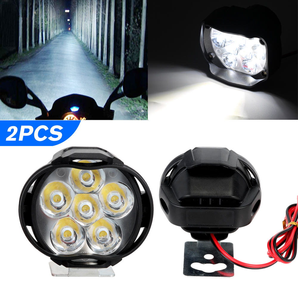 2Pcs Car Motorcycle Waterproof 4 LED External Lights Fog Light Headlight Lamp UK
