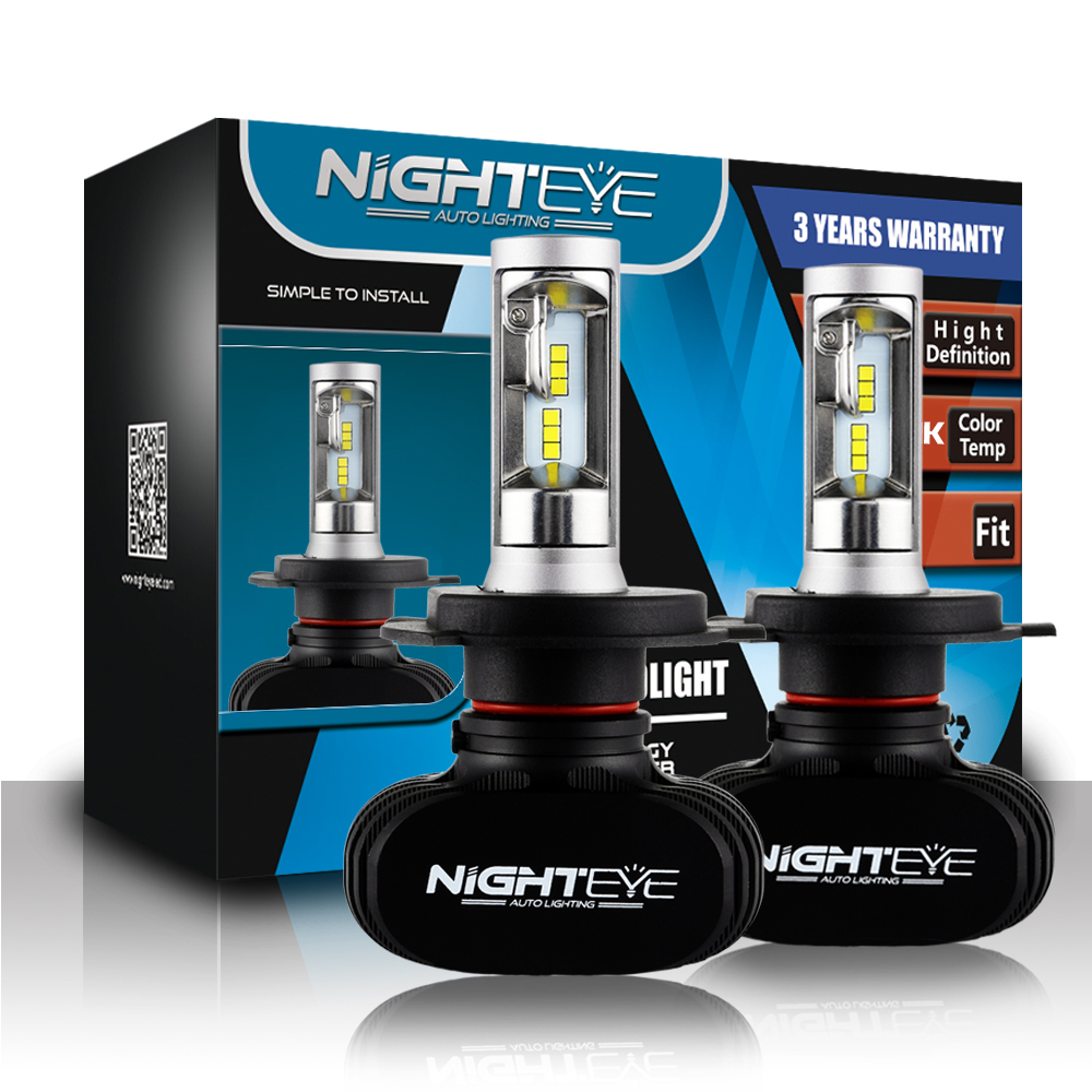 Nighteye H4 9003 HB2 Car LED Headlight Bulbs Hi//Low Beam Driving Lamps HID White