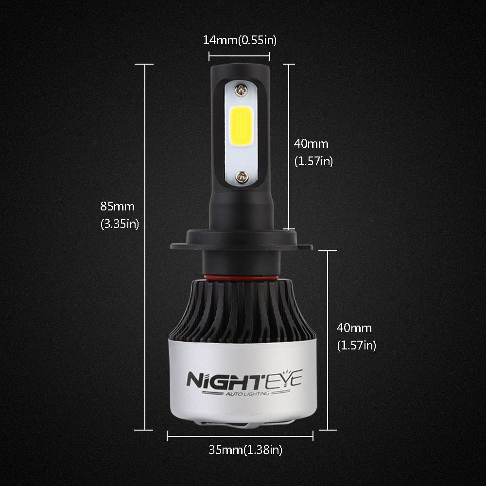 nighteye 72w h7 led scheinwerfer auto headlight birne. Black Bedroom Furniture Sets. Home Design Ideas