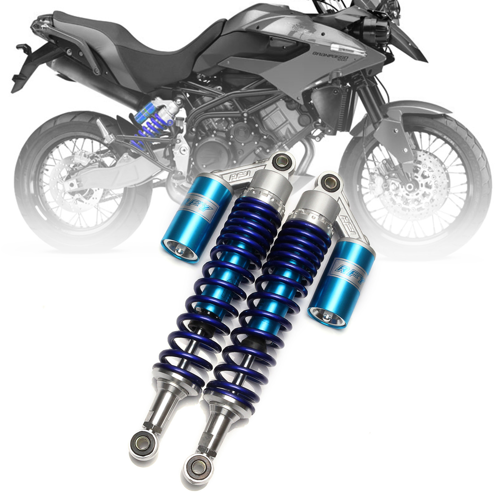 1 pair Universal 375mm 380mm Spring 8mm Motorcycle Air Shock Absorber Rear Suspension For Yamaha Ducati Scooter ATV blue