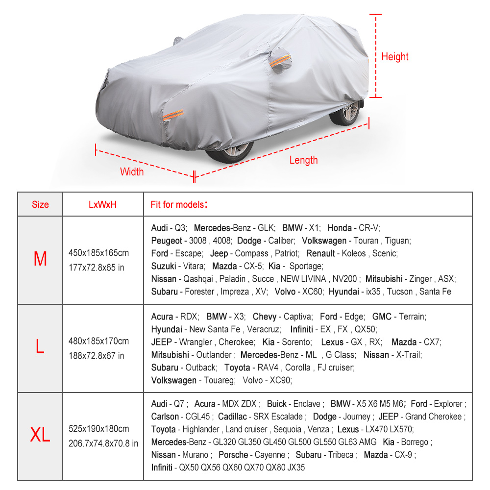 Breathable Full Car Cover UV Sun Protector For BMW X3 2004-2016