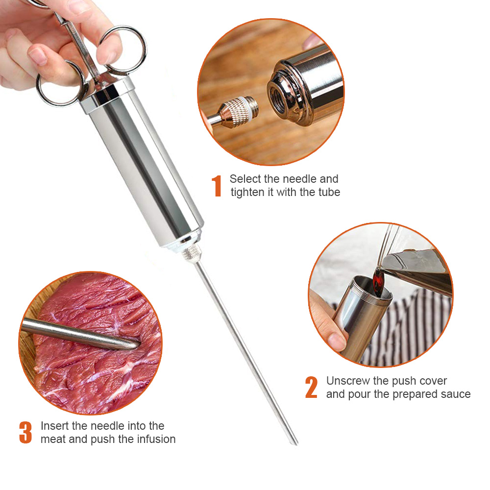 Stainless Steel Sauces Injector Meat Tenderizer Marinade Flavor Spice Syringe UK