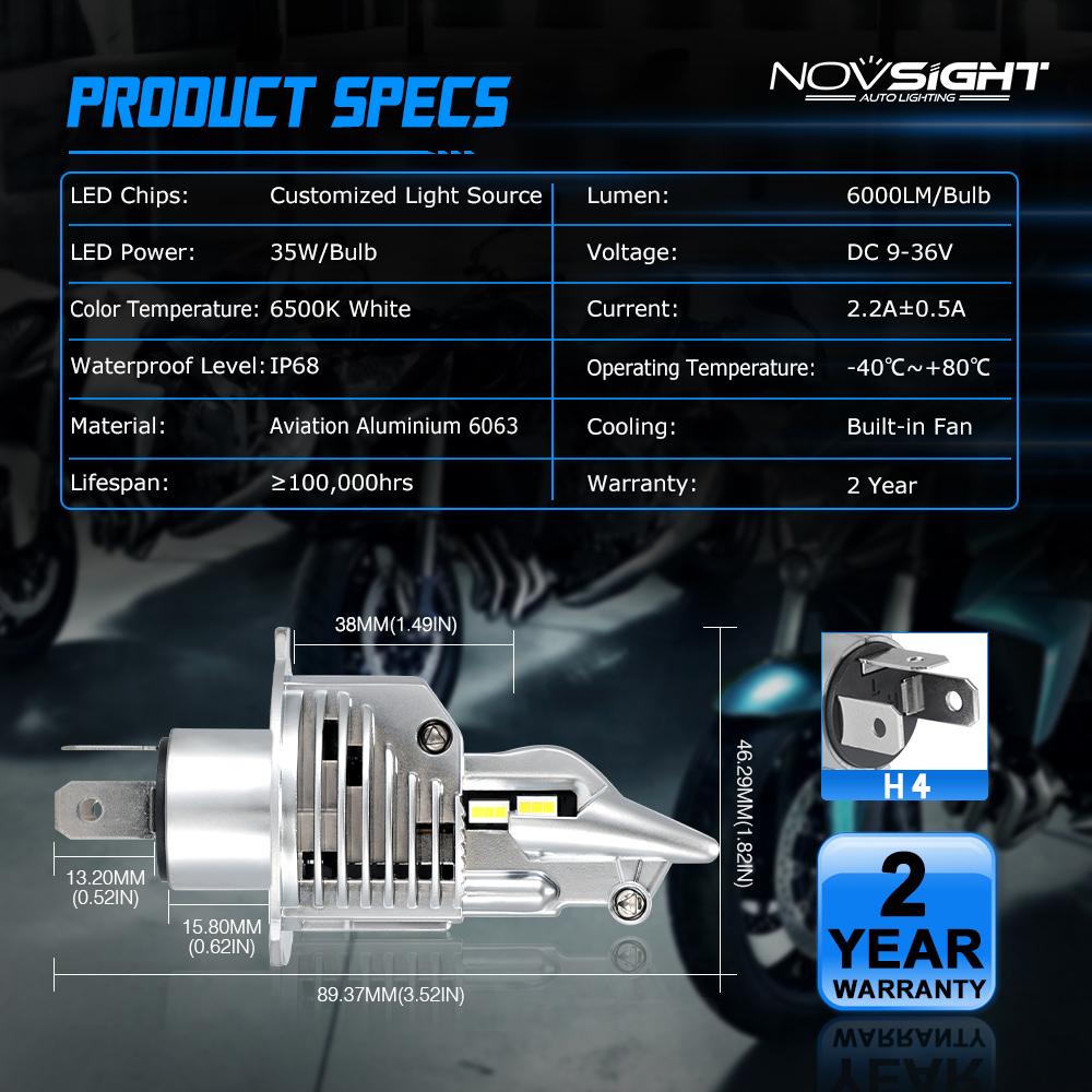 NOVSIGHT H4 ZES LED Motorrad Scheinwerfer 28W 5000LM Birnen Weiß 6000K 1 Stück