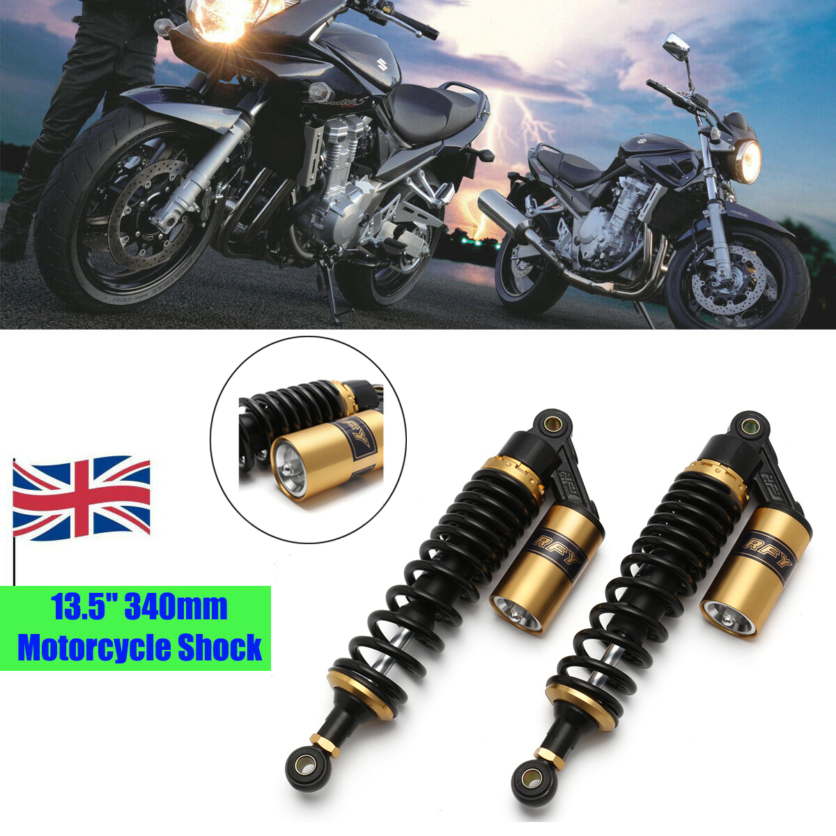 Gold /& Black NEVERLAND 340mm 13.5 Motorcycle Rear Shock Absorbers Gas Suspension for BMW Triumph Honda Suzuki Black Gold