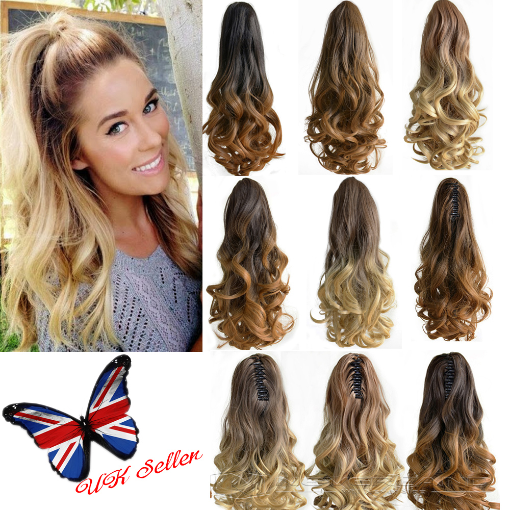 Ponytail Hair Tail Extensions Hairpiece Claw On Clip Long Ombre Dip