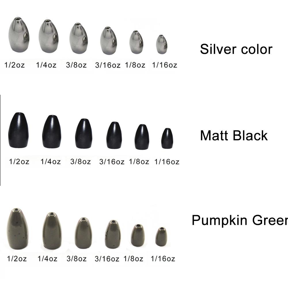 viele Farbe und Gr/ö/ße zur Auswahl MAXIMUMCATCH Tungsten Bullet Worm//Flipping Weights Wolfram-Kugelwurm f/ür Bassangeln