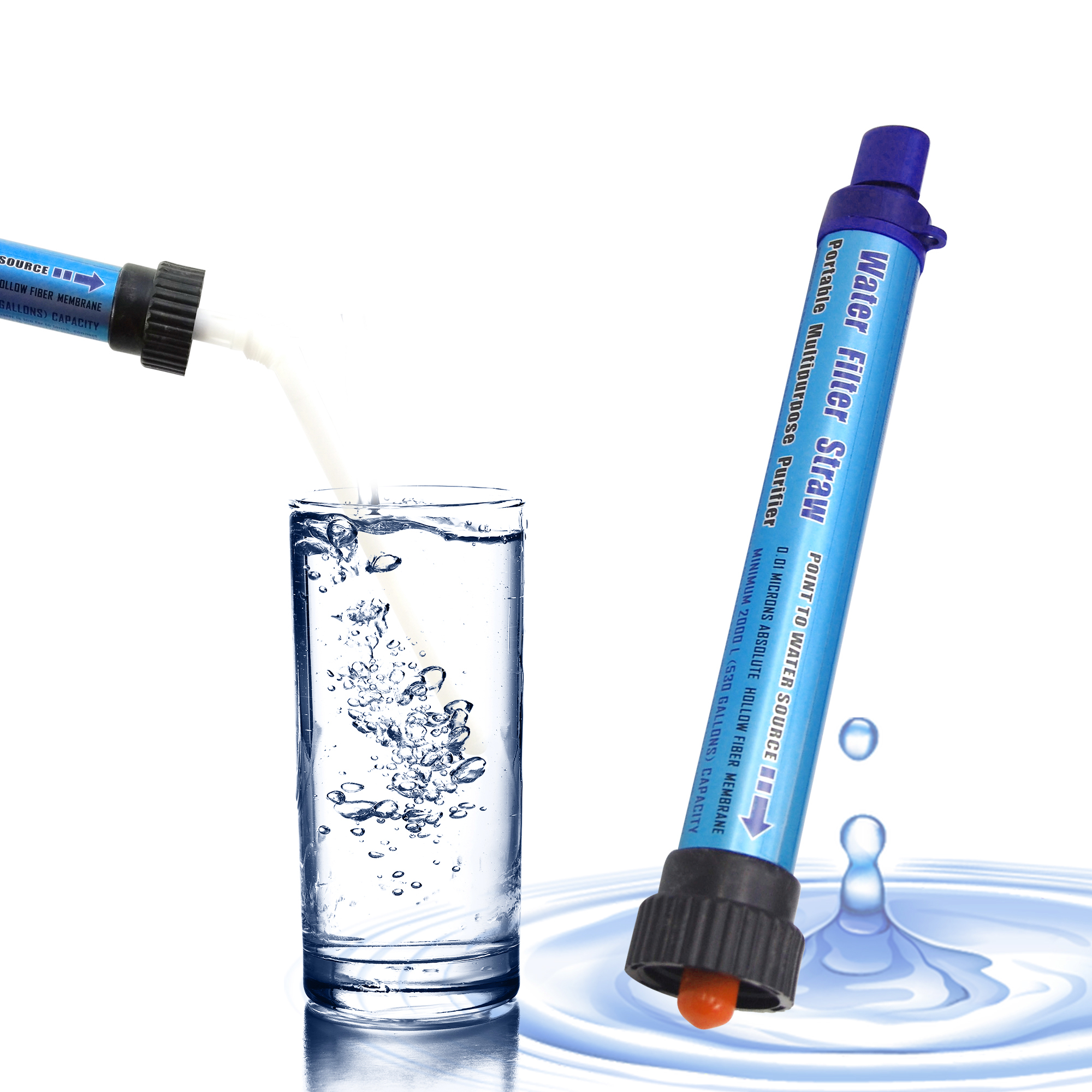 DeFe Personal Water Filter 2000L Portable Water Purification Straw Outdoor