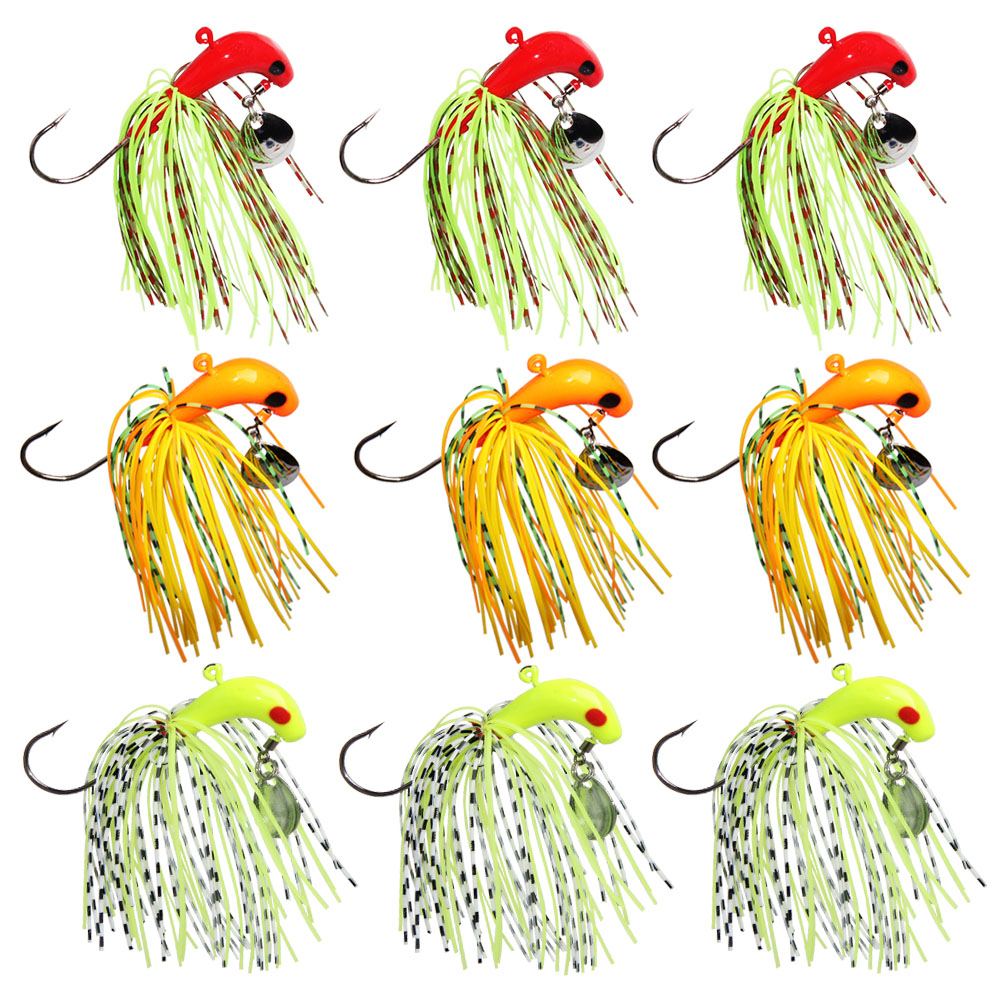 Buzzbait Spinnerbait Jig Head Rubber Fishing Lure With Bait Worm Hook For Squids