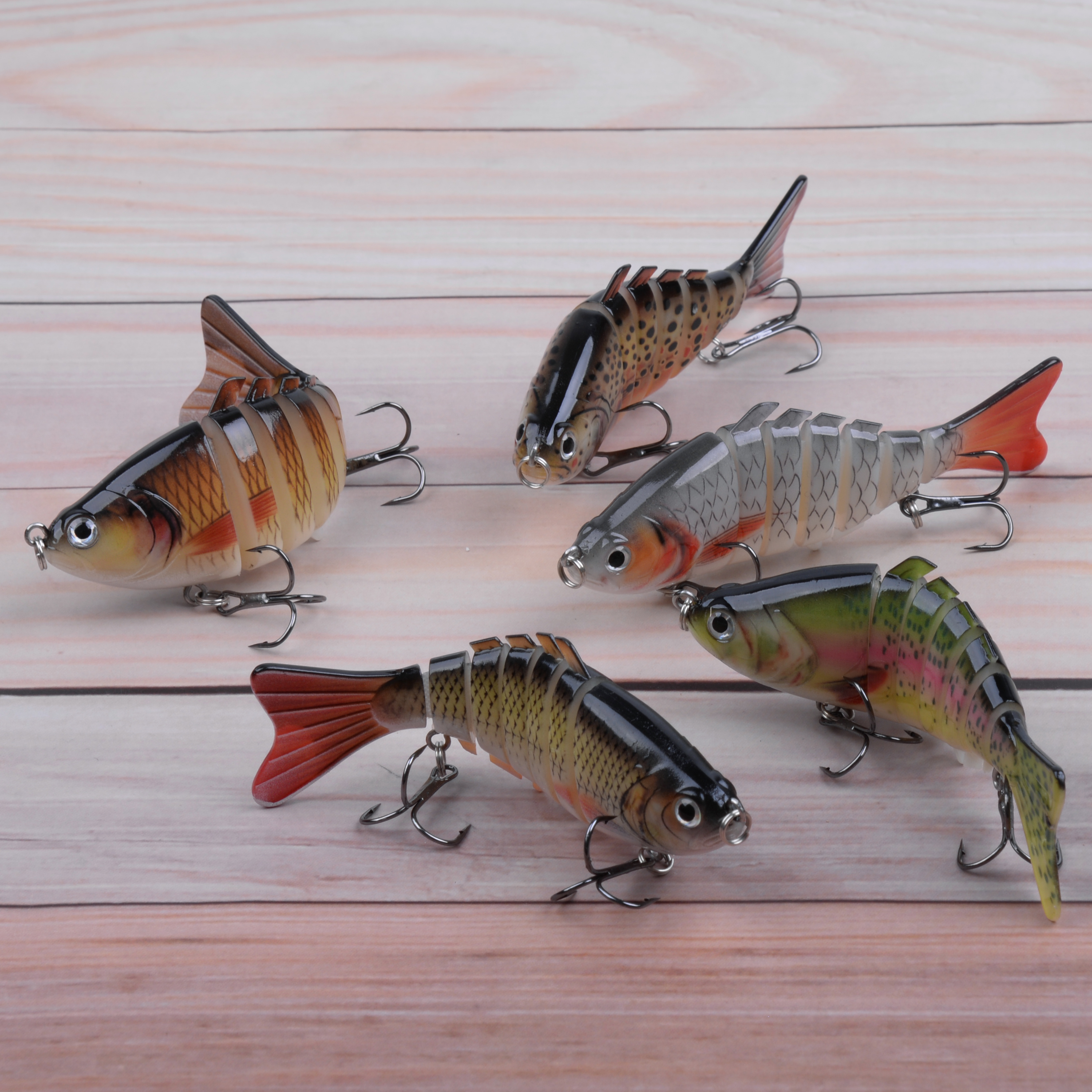 5PCS Fishing Lures Multi Jointed Hard Bait Swimbaits Bass Trout Pike Perch Lures