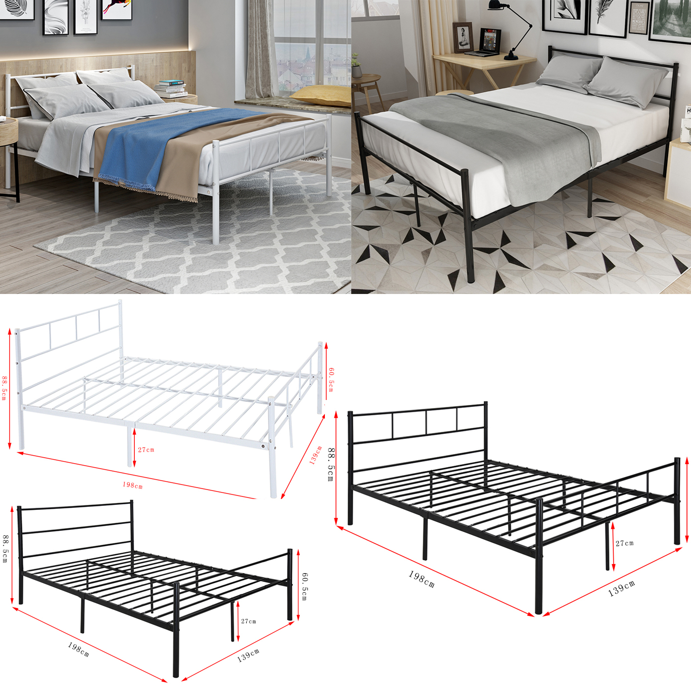 4FT6 Metal Bed Frame Small Double Black/White Features a tall ...