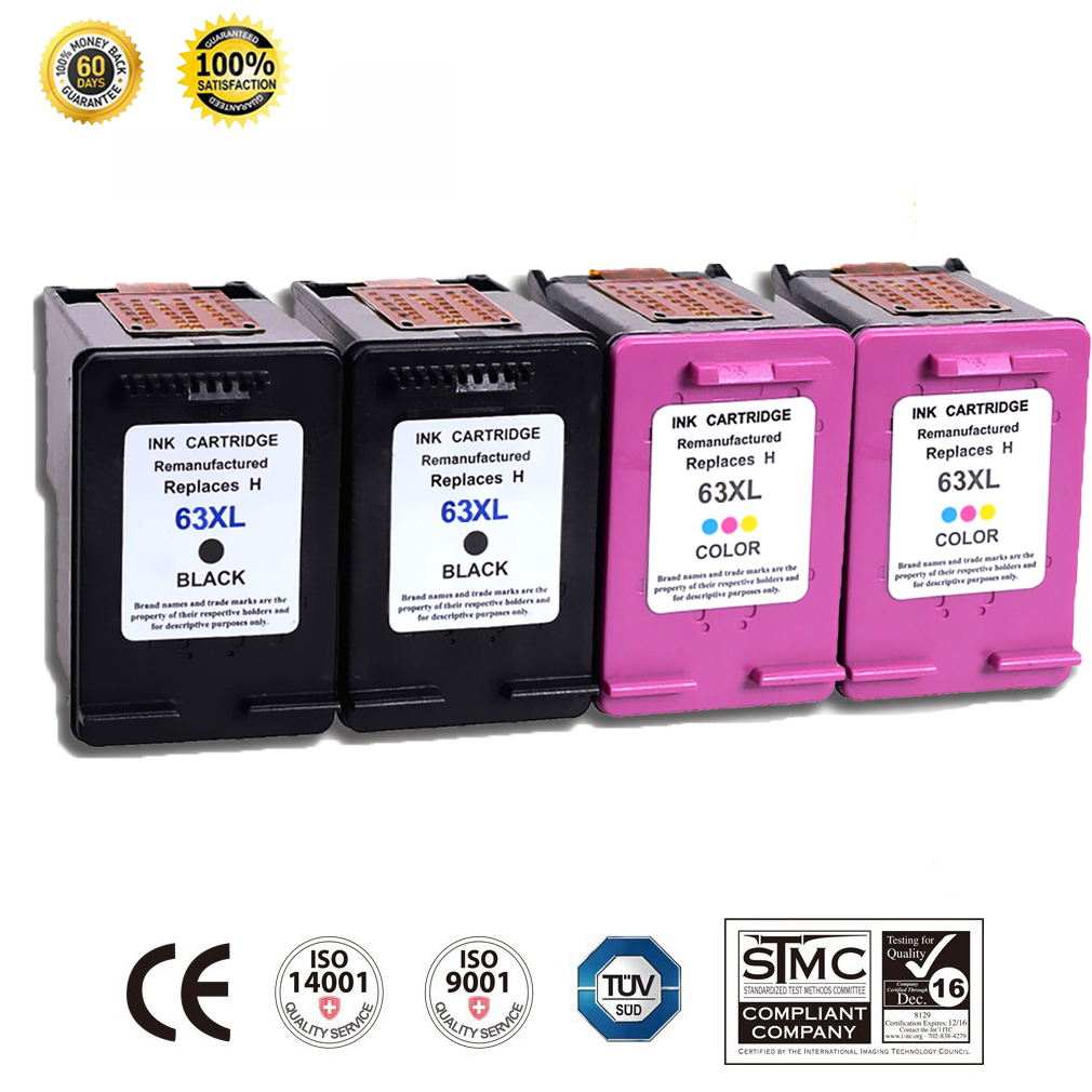 2PK Black Ink For HP 63XL 63 F6U64AN for HP Officejet 3830 3831 3832 3834 4650