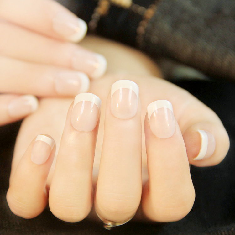24Pcs French Tips Full False Nails Acrylic Natural Finger