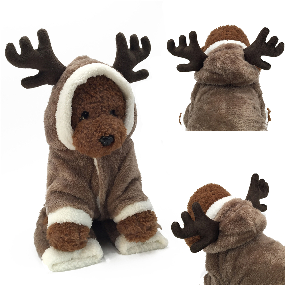 Christmas Puppy Outfit Pet Xmas Reindeer Dog Costume Cat Hoodie Clothes Coat UK 3