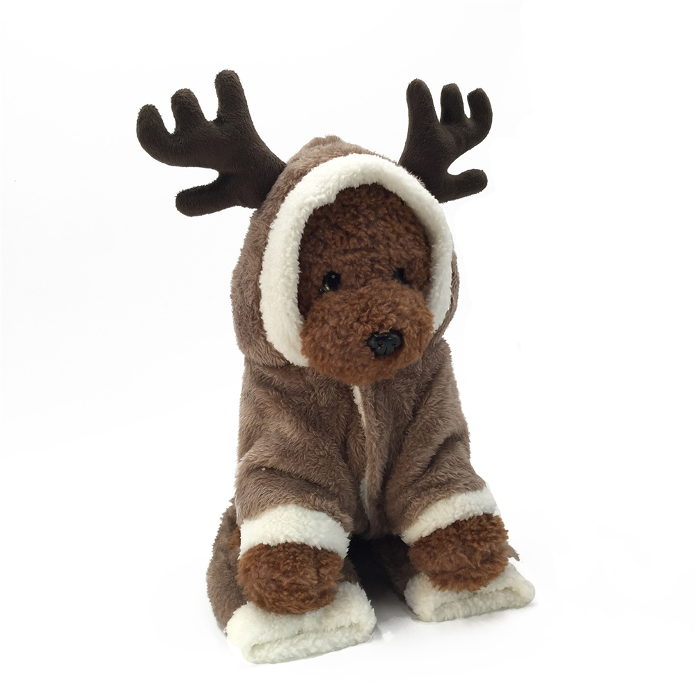 Christmas Puppy Outfit Pet Xmas Reindeer Dog Costume Cat Hoodie Clothes Coat UK 4