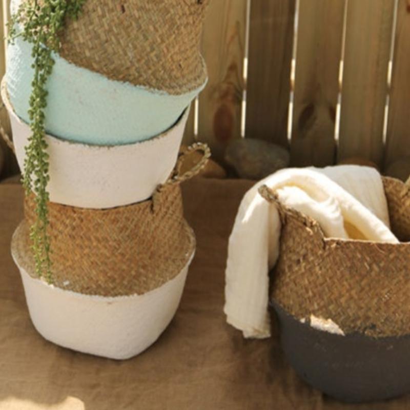 Basket Rattan Folding Wicker Handle Round Natural Sea Grass Plant Storage NEUK Home Décor Items