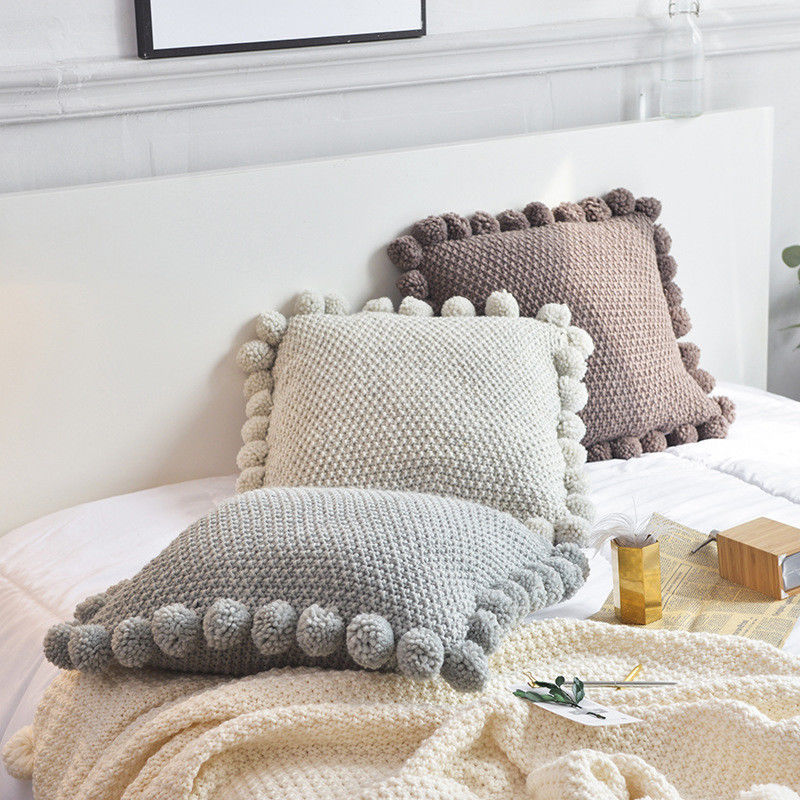 45*45cm Pom Pom Knitted Cushion Cover Acrylic Throw Pillow Cases Home Decor UK