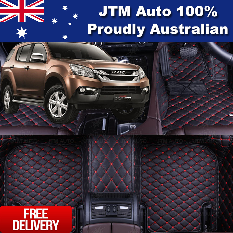 Custom Made Isuzu MUX MU-X 3D Floor Mats PU Leather Front + Rear 2013-2019