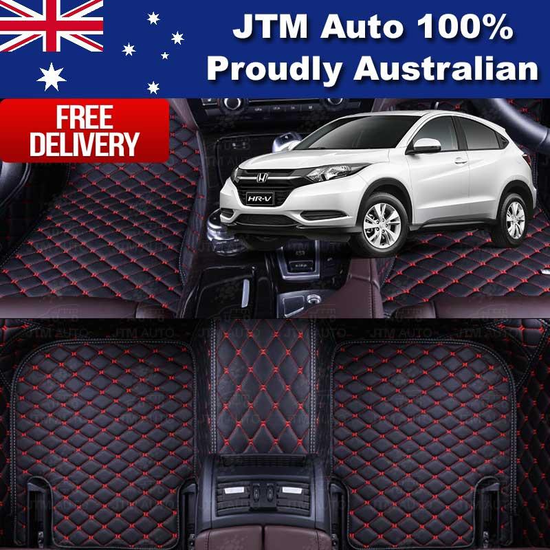 Honda HRV HR-V 3D Floor Mats Carpet Black PU Leather 2015-2018 Front And Rear