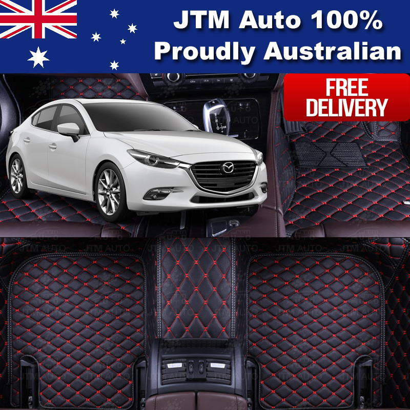 Custom Made Mazda 3 3D Floor Mats Carpet Black PU Leather Front + Rear 2014-2019