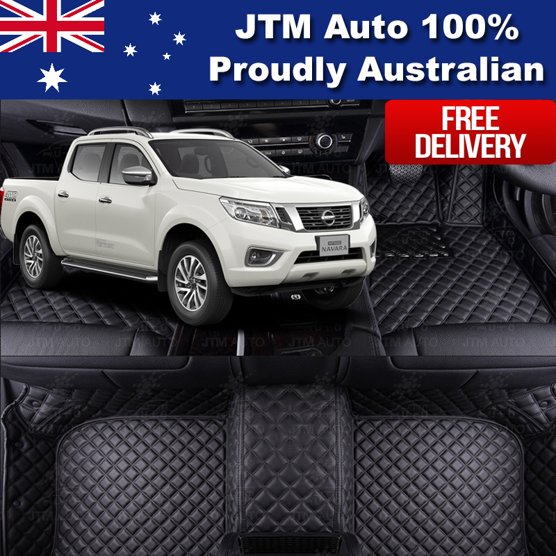 Custom Made Nissan Navara NP300 3D Leather Floor Mats Front + Rear 2014-2019