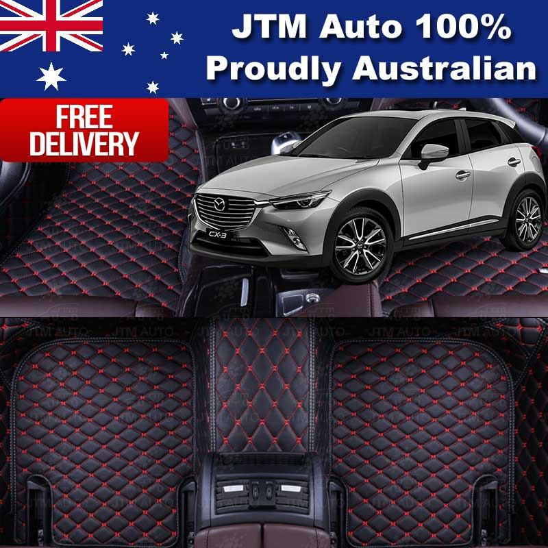 Custom Made Mazda CX3 CX-3 3D Floor Mats Black Leather Front + Rear 2015-2019