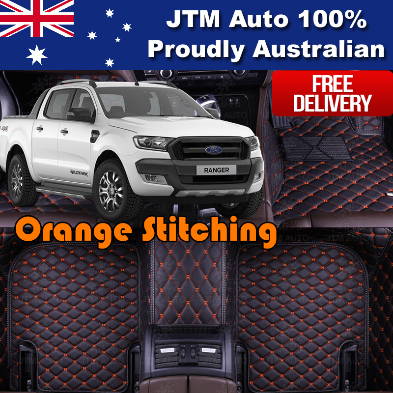 Custom Made Ford Ranger Wildtrak Floor Mats Front + Rear 2012-2018 ORANGE STITCH