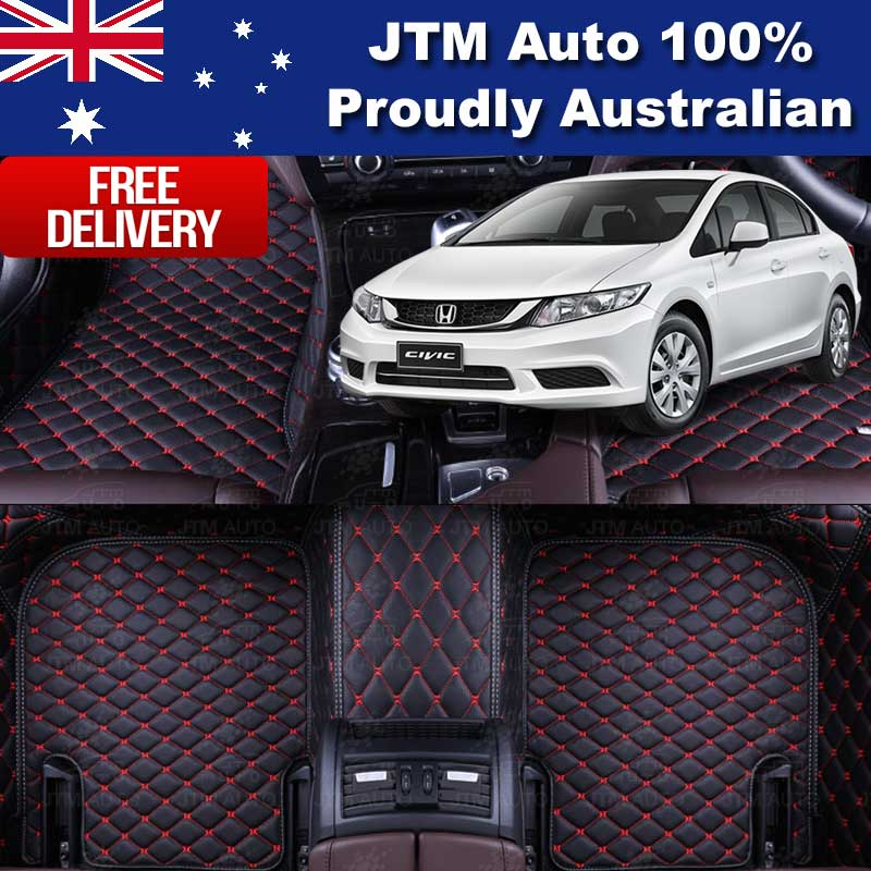 Custom Made Honda Civic 3D Floor Mats Black PU Leather Front And Rear 2016-2018