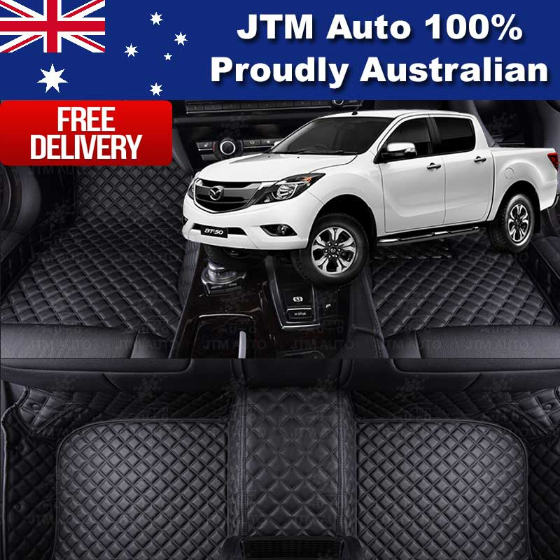 Custom Made Mazda BT-50 BT50 3D Floor Mats Black Leather Front + Rear 2012-2019