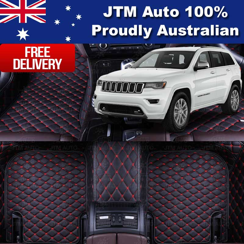 Custom Made Jeep Grand Cherokee Floor Mats Leather Black Front + Rear 2010-2019