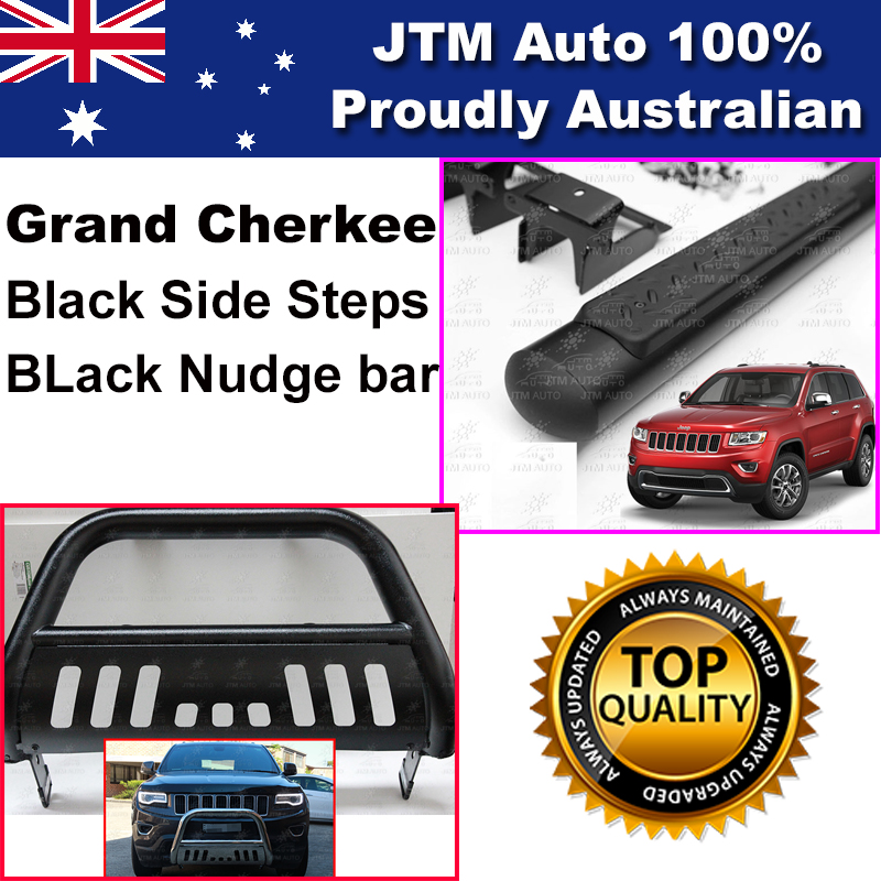 Matte Black Side Steps + Nudge Bar to suit Jeep Grand Cherokee 2011-2018