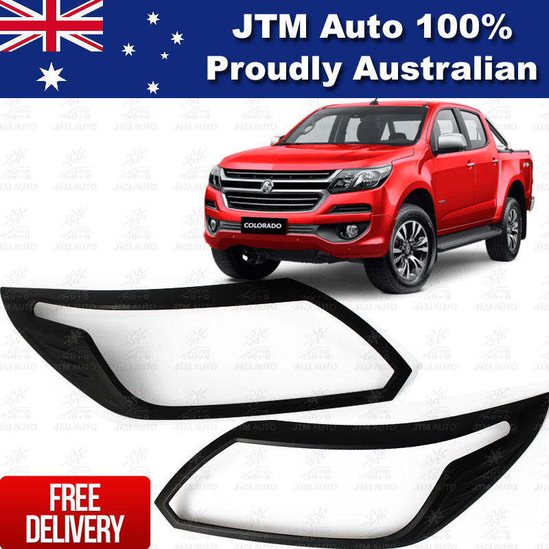 MATT Black Head Light Cover Trim Protector to suit HOLDEN Colorado 2017 ON