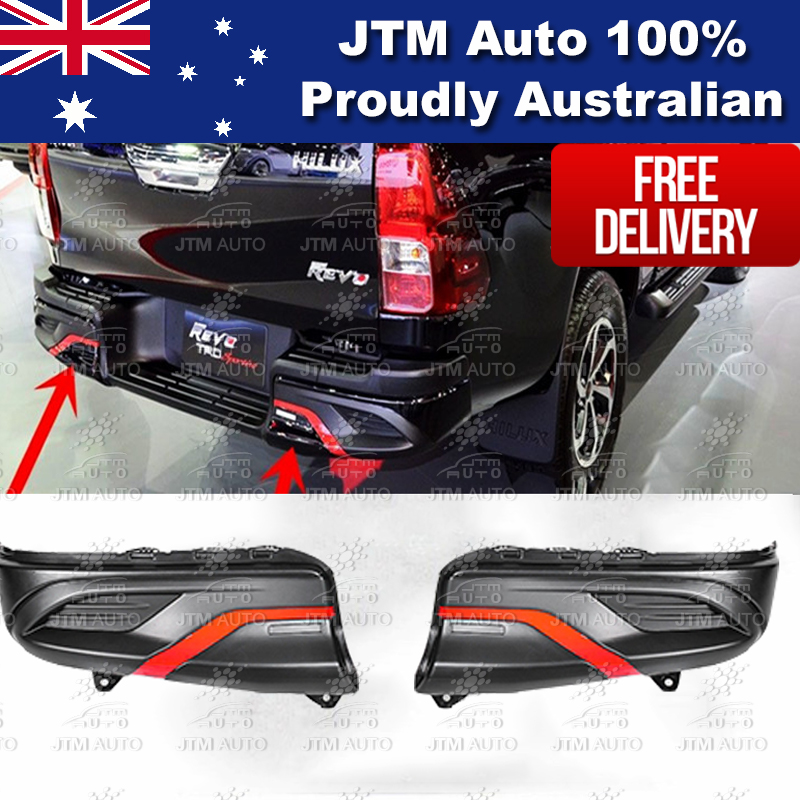 Black Red Rear Bumper Cladding Guard Protector to suit Toyota Hilux 2015-2018