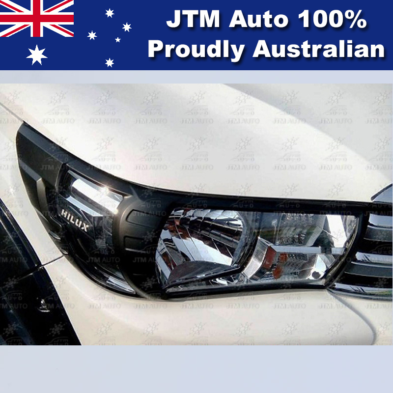 MATT Black Head Light Cover Protector to suit Toyota Hilux 2015-2018 SR Workmate