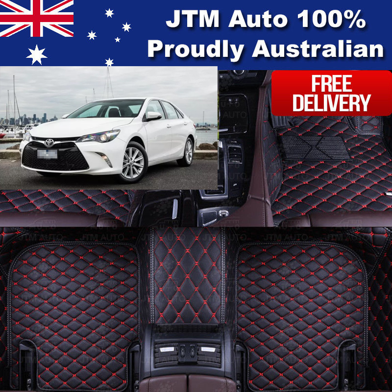 Custom Made 3D Leather Floor Mats Front + Rear to suit Toyota Camry 2012-2017