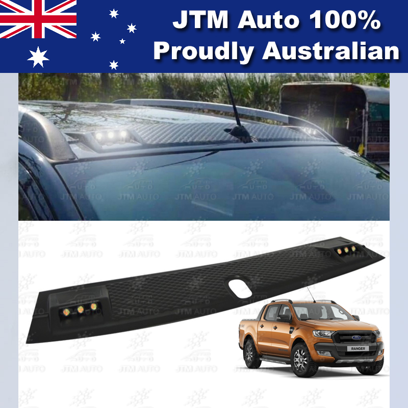 LED Matt Black Front Roof Spoiler For Ford Ranger PX PX2 2012-2018