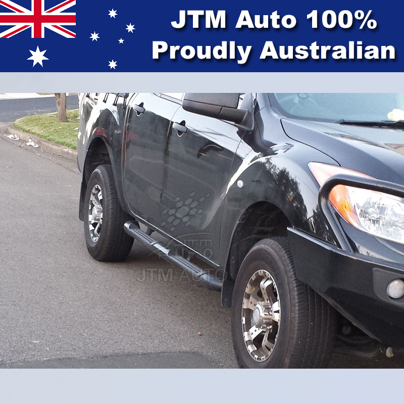 Running Boards Black Steel Side Steps to suit Mazda BT50 Dual Cab 2011-2018