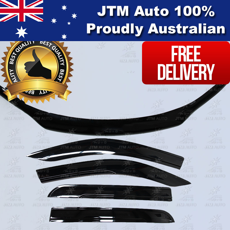 Bonnet Protector + Window Visors Weather Shields to suit 2015-2019 Toyota Hilux