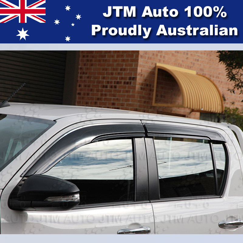 Premium Weather shield Set of 4 Window Visor to suit Toyota HILUX 2015-2019