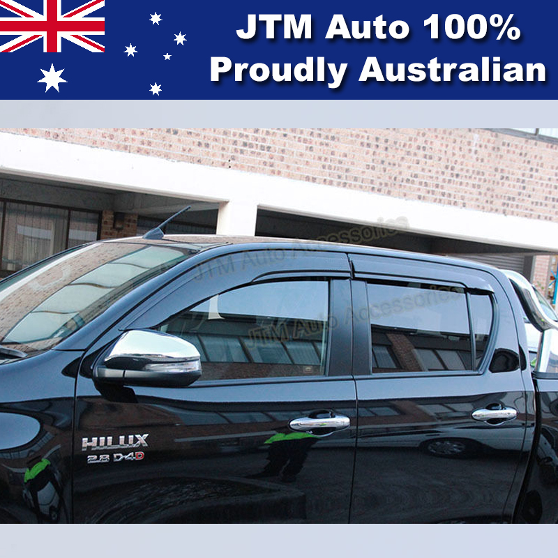 Premium Weather shield Set of 4 Window Visor to suit Toyota HILUX 2015-2019