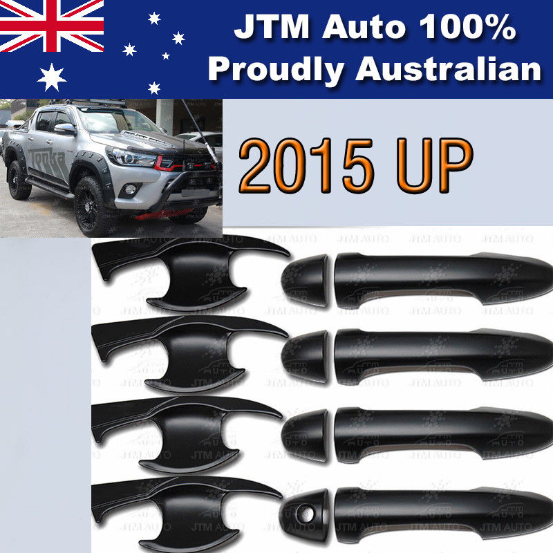 Matt Black Door Handle Bowl Cover Protector to suit Toyota Hilux 2015-2019