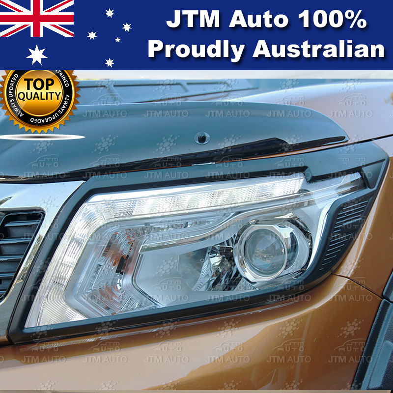 MATT Black Head Light Cover Trim to suit Nissan Navara NP300 D23 2014-2019