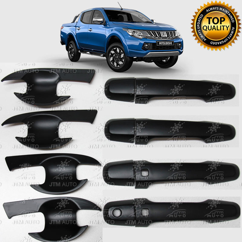 MATT Black Door Handle Bowl Cover Protector For Mitsubishi Triton MQ 2014 - 2018