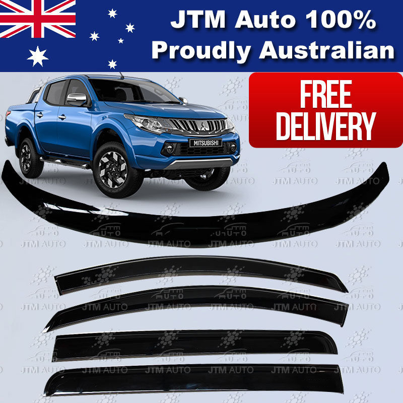 Bonnet Protector + Visors Weathershields to suit 2015-2018 Mitsubishi Triton MQ