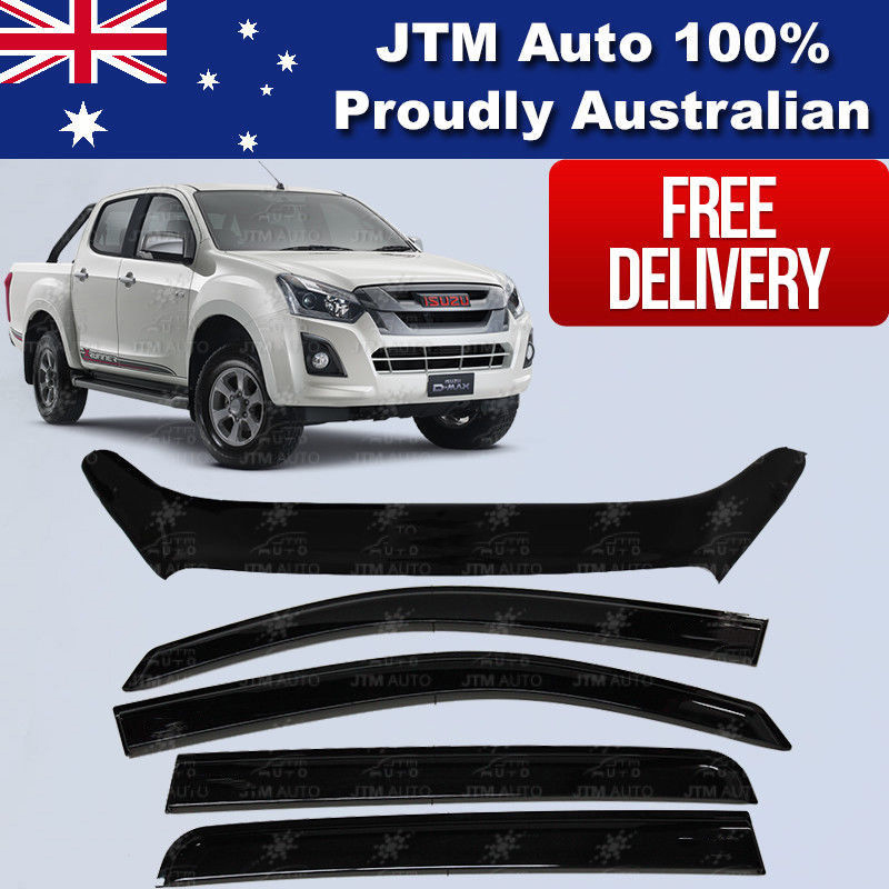 Bonnet Protector Guard + Weather Shields Visor to suit ISUZU D-max Dmax 2017+