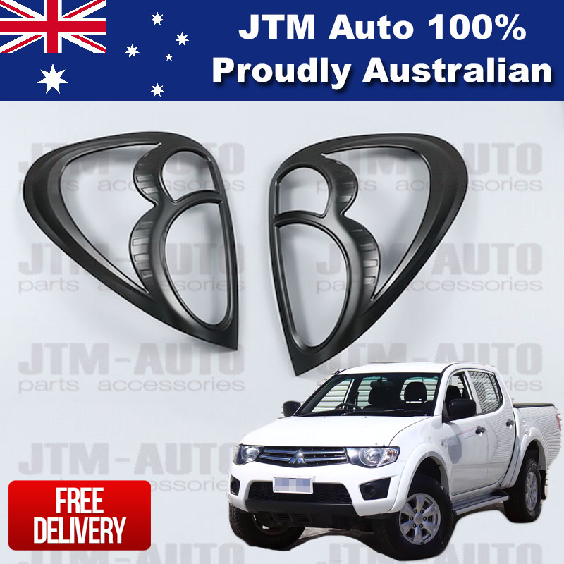Matte Black Tail Light Cover Protector Suits Mitsubishi Triton MN ML 2006-2014