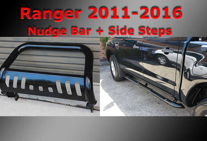 Black Side Steps + Nudge Bar to suit Ford Ranger PX 2011-2018
