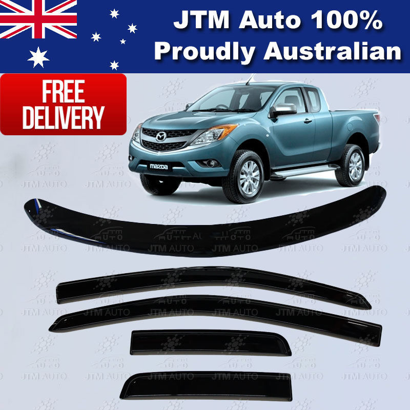Bonnet Protector + Weathershields Visor for Mazda BT50 BT-50 Extra Cab 2012-2018